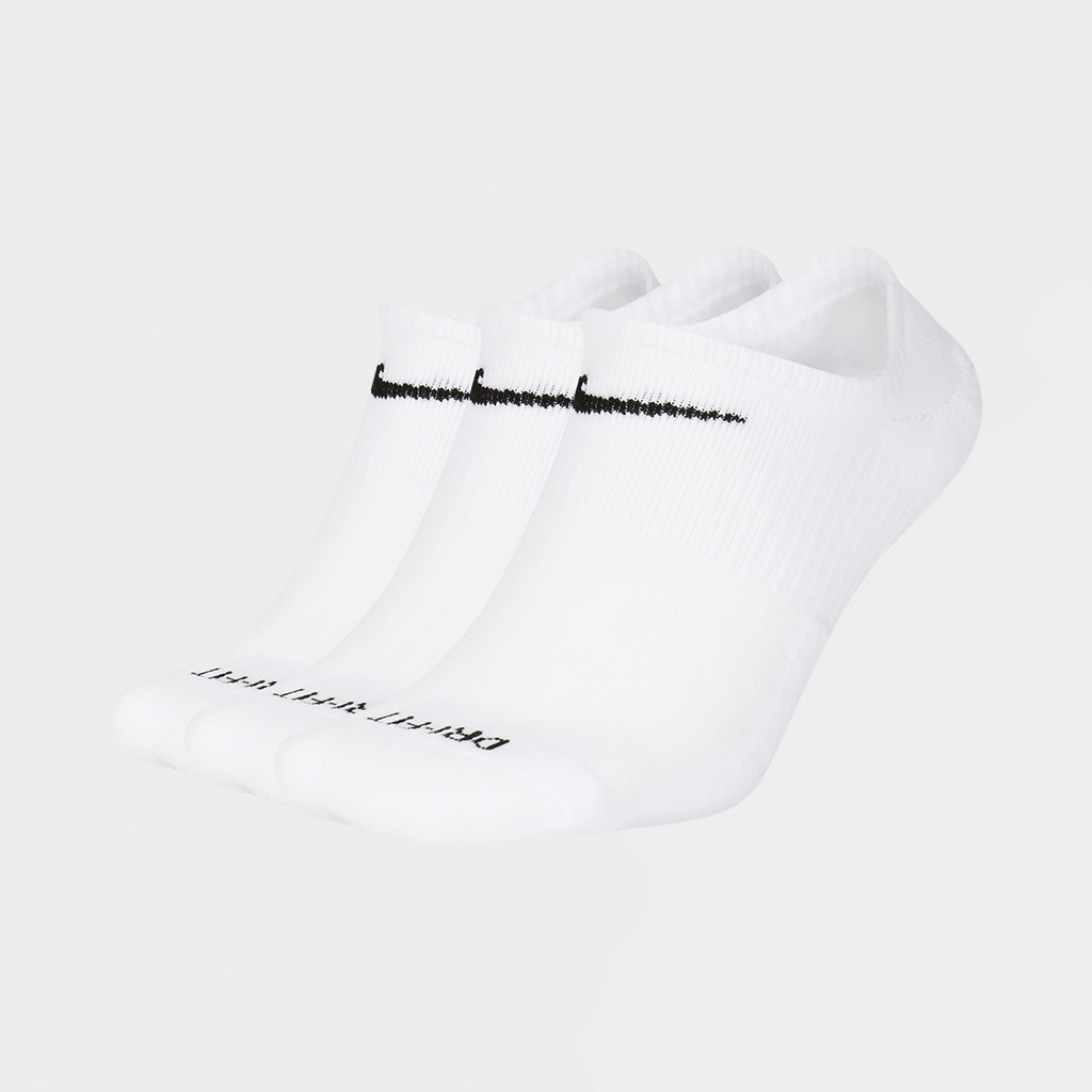 Nike Unisex Everyday Cush No Show Socks 3 Pack White (SX7840-100)